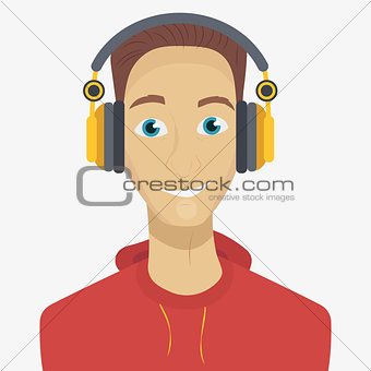 Man listening to music through headphones