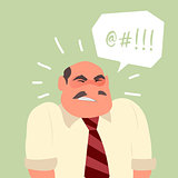 Busy angry stressful office worker character