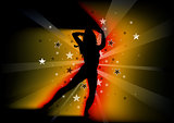 Silhouetted Dancing Young Woman and Light Beams