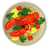 lobster served with vegetables.
