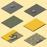 Infographic elements representing field work of agricultural machinery isometric icon set