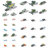 Agricultural machinery isometric icon set