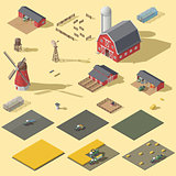 Elements of the infographic of the agrarian industry isometric icon set