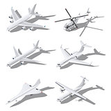 Various passenger aircraft isometric icon set