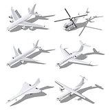 Various passenger aircraft isometric icon set