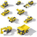 Career and construction transport isometric icon set