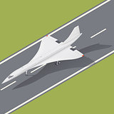 Supersonic passenger airliner isometric icon