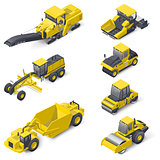Transport for laying and repair of asphalt isometric icon set