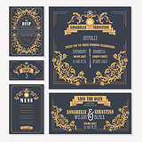 Calligraphic vintage floral wedding cards collection
