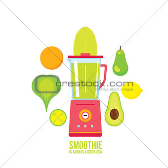 Blender with avocado Pear Orange and Greens Healthy smoothie