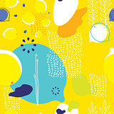 Colorful yellow seamless background pattern with lemons and abstract elements