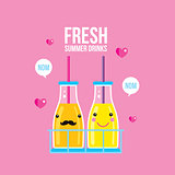 Bottles of smoothie and juice Fresh summer drink