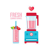 Fresh strawberry smoothie and blender Summer drinks