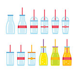 Bottle Glass Cup icons set