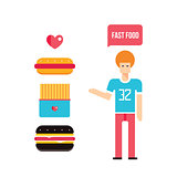 Young man and Fast food icons set
