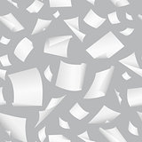 Background with flight paper, illustration of clear chaotic paper.Seamless vector background with flying, falling, scattered office white paper sheets, documents.