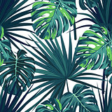Tropical background with jungle plants. Seamless vector tropical pattern with green sabal palm and monstera leaves.
