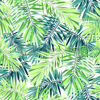 Bright green background with tropical plants. Seamless vector exotic pattern with phoenix palm leaves.
