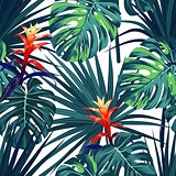 Exotic tropical background with hawaiian plants and flowers. Seamless vector pattern with green monstera and sabal palm leaves, guzmania flowers.