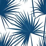 Vector tropical background with jungle plants. Seamless tropical pattern with sabal palm leaves. Denim indigo colors.