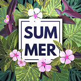Summer tropical background with exotic palm leaves and pink flowers. Jungle vector floral template.