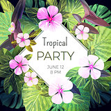 Bright green vector floral design template for summer party. Tropical flyer with green exotic palm leaves and pink flowers.