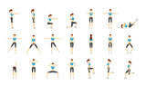 Girl Dioing Exercise on White Background Vector Illustration EPS