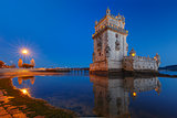 Belem Tower in Lisbon at night, Portugal
