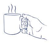 mug with hot tea in hand