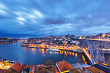 Night Old town and Douro river in Porto, Portugal.