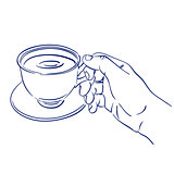 cup of fragrant coffee in hand