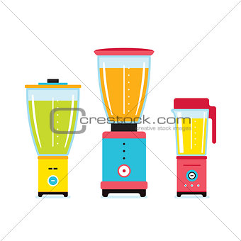 Blender Juicer Mixer Kitchen appliance icon set isolated on white