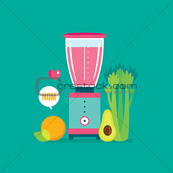 Blender Celery Orange Avocado and Celery Healthy food background