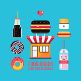 Fast food cafe facade and food icons set
