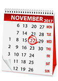 holiday calendar for Thanksgiving Day 2017