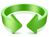 Green, horizontal rotation, arrow sign. 3D