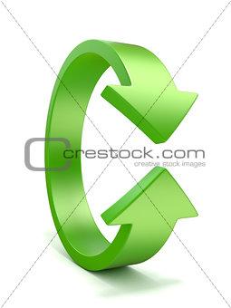 Green, vertical rotation, arrow sign. 3D