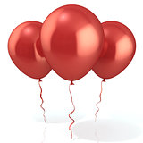 Three red balloons, isolated