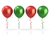 Red and green balloons, isolated
