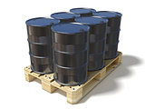 Black oil barrels on wooden euro pallet. 3D