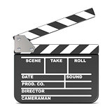 Movie clapperboard, opened. 3D