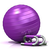 Violet fitness ball and push-up bars
