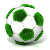 Football ball with grassy field instead black