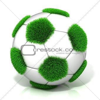 Football ball with grassy field instead black