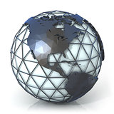 Polygonal style illustration of earth globe, America view