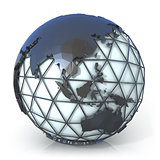 Polygonal style illustration of earth globe, Asia and Oceania vi