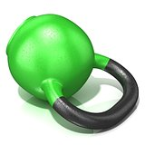 Green kettle bell weight, lying on its side, isolated on a white