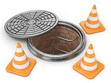 Open manhole and traffic cones. Under construction concept. 3D