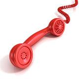 Red telephone handset, retro illustration