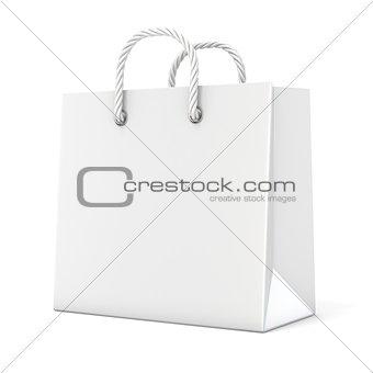 Single, empty, blank shopping bag. 3D